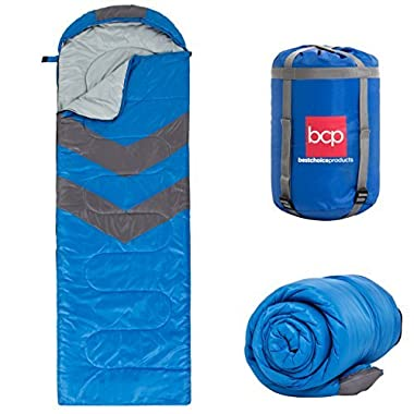 Best Choice Products 4-Season Water-Resistant 20F Portable Envelope Sleeping Bag Compression Sack Carrying Case