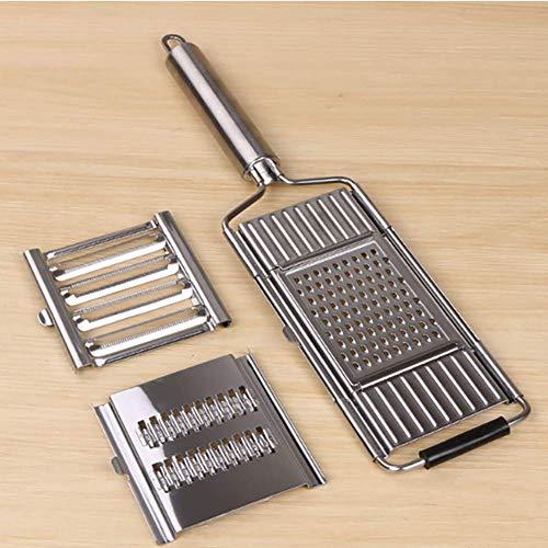 Rebanadora de verduras multiusos 3 en 1, trituradora de repollo pelador herramienta de cocina ajustable, rallador de mano de mango largo, ligero y fácil de limpiar