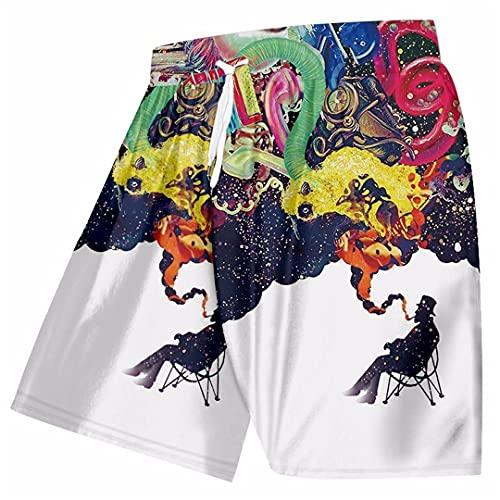 Renost Pantalones Cortos de Playa Hawaianos de Talla Grande para Hombre, Pantalones Cortos para Correr de Secado rápido con Estampado 3D, bañadores para Hombre