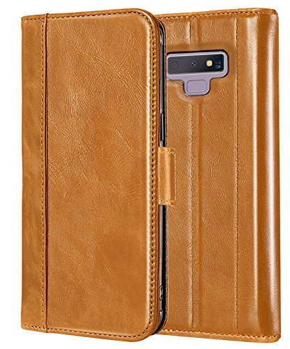 ProCase Genuine Leather Case for Galaxy Note 9, Vintage Wallet Folding Flip Case with Kickstand and Multiple Card Slots Magnetic Closure Protective Cover for Galaxy Note 9 (Brown)