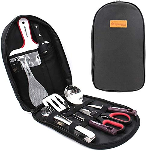 Camping Accessories Set, Camping Kitchen Utensil Organizer Travel Set with Tongs, Cutting Board, Rice...