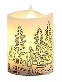 Star LED-Leuchtkerze mit Echtwachs, flackernd, Timer, Santa im Schlitten batterie betrieben Sichtkarton, 10 x 8 cm, weiß 066-95