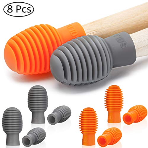 8 Pieces Drum Mute Drumstick Silent Tip Drum Dampener Accessory Rubber Practice Percussion Tips Mute Replacement Drum Practice Tips (Orange and Grey)