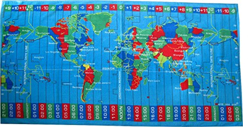 World Time Zones Beach Towel