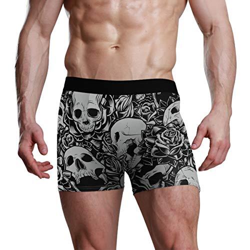 DXG1 Herren-Boxershorts mit Totenkopf-Motiv, Grau Gr. L, mehrfarbig