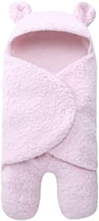 Unisex Baby Swaddle Blanket, Newborn Plush Receiving Blanket Warm Hooded Sleeping Wrap Swaddle for Crib, Travel, Outdoor