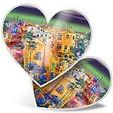 Impresionante pegatinas de corazón de 7,5 cm – Pintura abstracta de casas de ciudad divertida calcomanías para portátiles, tabletas, equipaje, libros de chatarras, neveras, regalo genial #24516