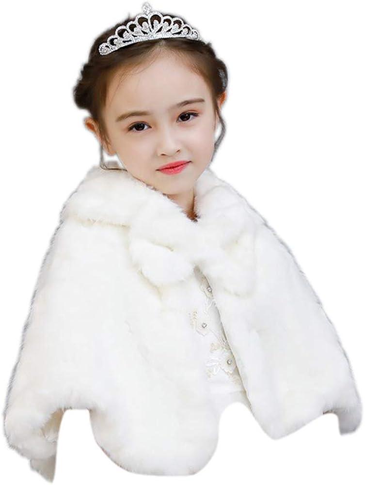 LeJulyeekay Girls Luxury Faux fur Long Sleeve Bolero Cape Jacket Coat Shrug Wrap
