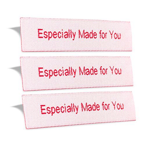 Wunderlabel Especially Made for You Crafting Craft Art Fashion Woven Ribbon Ribbons Tag for Clothing Sewing Sew Clothes Garment Fabric Material Embroidered Label Labels Tags, Red on White, 50 Labels