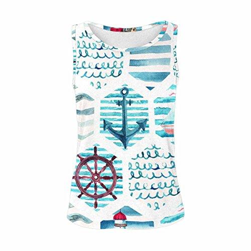 InterestPrint Watercolor Nautical Anchor Women's Vest Tank Tops Sleeveless Shirt XXL