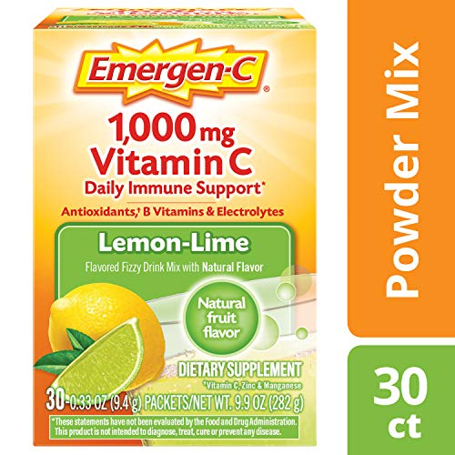 Emergen-C Vitamin C 1000mg Powder (30 Count, Lemon Lime Flavor, 1 Month Supply), with Antioxidants, B Vitamins and Electrolytes, Dietary Supplement Fizzy Drink Mix, Caffeine Free