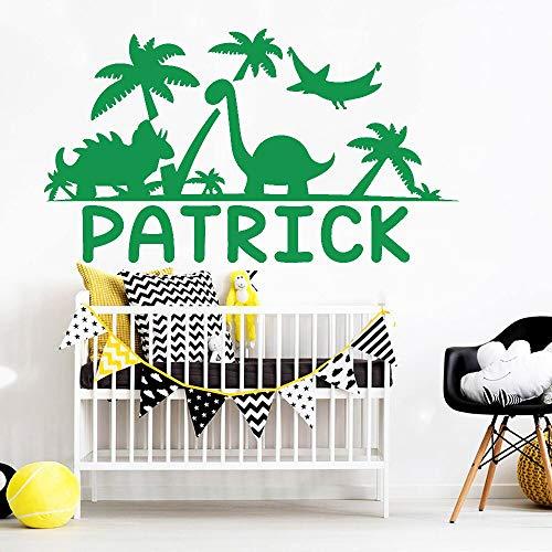 Blrpbc Adhesivos Pared Pegatinas de Pared Nombre Personalizado Animal Nursery Habitación para niños Decoración del hogar Nombre Personalizado para niños Vinilo 114x64cm