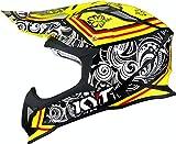KYT Strike Eagle Potion - Casco de motocross XL Giallo/Nero/Bianco
