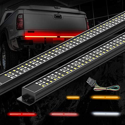 MICTUNING Triple Tailgate Light Bar Waterproof Plug-and-Play Aluminum Frame with 4-Way Flat Connector Wire - Amber Sequential Turn Signal, Red Brake/Running, White Reverse Lights for Pickup Truck