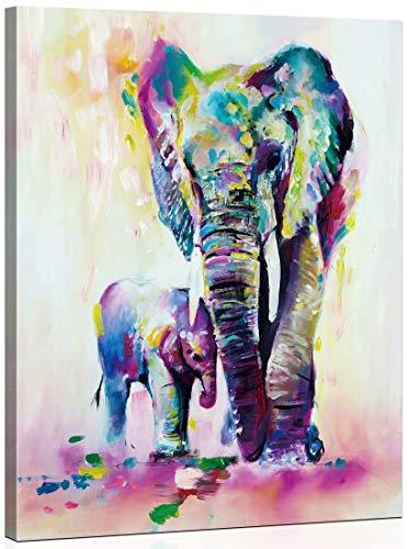 Toudorp Pintura al óleo de Bricolaje por Kits de números Animales, Lienzo Pintura al óleo por números decoración de la casa 40 * 50 cm - Elefante Colorido Padre e Hijo Marco de Madera