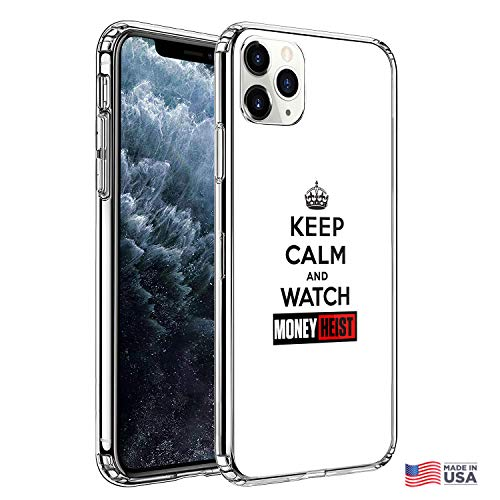 Premium iPhone 11 Pro Max Phone Cases with Keep Calm and Watch Euro Heist Design on Protective PC Hard Back, The Best Essential Accessories
