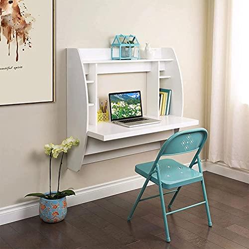 Escritorio montado en la pared con estantes de almacenamiento | 3 9 EN Escritorio de computadora portátil | Mesa de oficina en casa con estantería | Escritura de la mesa de escritura, escritorio de co