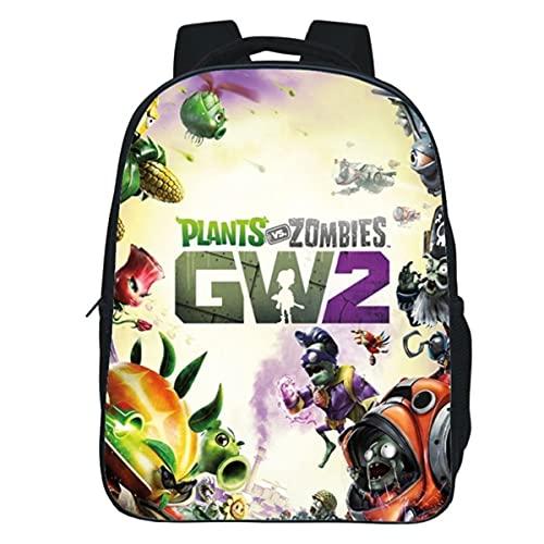 YANJJ Kindergarten Children'S Backpack, Plants Vs. Zombies Print, Waterproof Polyester Leisure Bag, Suitable For Boys And Girls Aged 3-6 C-30 * 24 * 12cm