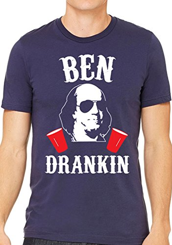 Ben Drankin 4th of July Shirt Men's Navy Blue with White & Red Print (XX-Large)