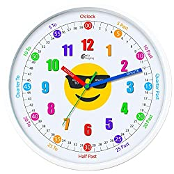 Wise Hedgehog Telling Time Teaching Clock, 12 inch Silent Movement Analog Learning Clock for Kids, Perfect Room & Wall Decor for Classrooms, Playrooms and Kids Bedrooms