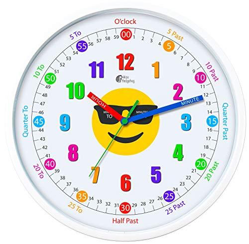 Wise Hedgehog Reloj de enseñanza, Movimiento silencioso, 12 Pulgadas, Hace Que el Tiempo de Aprendizaje Sea fácil y Divertido, Ideal para Profesores, aulas y dormitorios Infantiles