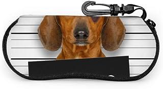 xinpin - Funda para gafas de sol con diseño de perro salchicha con un departamento de policía para hombre