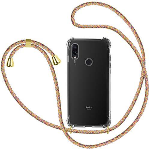 Funda con Cuerda para Xiaomi Redmi Note 7, Carcasa Transparente TPU Suave Silicona Case con Correa Colgante Ajustable Collar Correa de Cuello Cadena Cordón para Xiaomi Redmi Note 7 - Multicolo