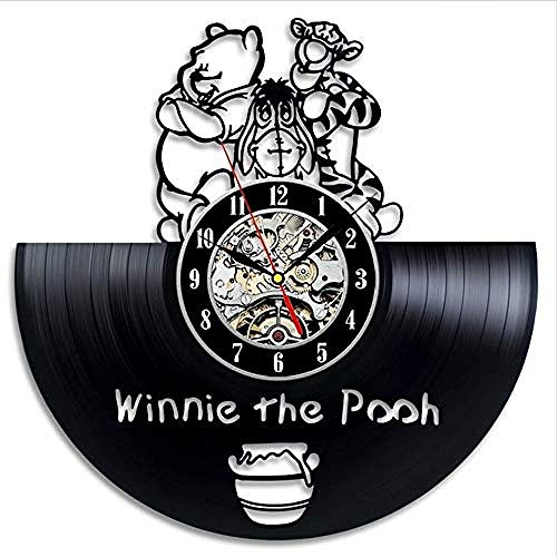 clockfc Retro Vinyl Wanduhr Retro Modernes Design Cartoon 3D Aufkleber Winnie The Pooh Uhr Wanduhr Home Decoration Stille