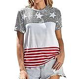 DOLAA Camiseta de Mujer Tops de Moda con Estampado de Estrellas a Rayas Blusa de Mujer Camiseta Casual Camisa Suelta de Verano Tops de Mujer Camiseta de Cuello Redondo Camiseta Casual de Manga Corta