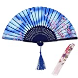 WOHENI Hand Fan Silk Bamboo Leopard Printed Folding Fan Handmade Cotton for Party Wedding Father's Day Dance Gift with Fan Cover