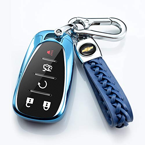 121Fruit Way Key Cover Fob Shell Case TPU Protector Holder with Key Chain Compatible with Chevrolet Chevy 2020 2019 2018 2017 2016 Malibu Camaro Cruze Traverse Volt Bolt Remote Keyless Entry (Blue)…