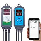 Inkbird Termostato Wifi ITC-308 + Higrostato Wifi IHC-200 Conjuntos Adecuado para Jamón Casera, Mini Invernadero, Cultivo de Hongos, Reptiles