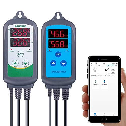 Inkbird Kombinationsset mit IHC-200 WLAN Feuchtigkeitsregler ITC-308 WLAN Digitaler Temperaturregler zur Regelung von Luftfeuchtigkeit und Temperatur