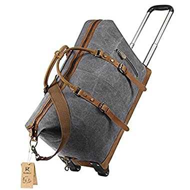 Kattee Luggage Rolling Duffel Bag Leather Trim Canvas Wheeled Carry-on Travel Bag 50L (Dark Gray)