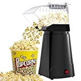 SLENPET 1200W Hot Air Popcorn Poppers Machine, Home Electric Popcorn Maker with Measuring Cup, 3 Min Fast Popping, ETL Certified, Oil Free, 98% Poping Rate, Great for Home Movie TV, Party (Black)
