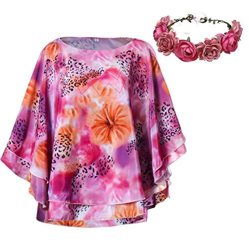 FirstCos Carole Baskin Costume Shirt for Women Joe Exotic Dolman Wide Elegant Cape Cloak Sleeve with Flower Garland Outfit