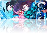 Demon Slayer Mouse Pad,Large Gaming Anime Mousepad,Non-Slip Water-Resistant Rubber Cloth Mouse Mat(31.5'x11.8')