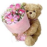 花 フラワーギフト くまのぬいぐるみ付き花束 (バラ) 誕生日