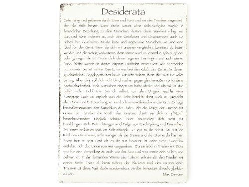 Interluxe WANDTAFEL Schild Vintage Shabby Dekoschild Holzschild Desiderata Tafel Lebensweisheit Zitat