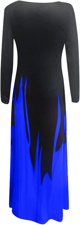 VEZAD Women's Autumn Long-Sleeved Dress Bohemian Casual Loose Pockets Plus Size Long Dresses Beach Party Sundress