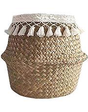Kenyaw Wasmand, opvouwbaar, zeegras, bloemenmand, handgeweven bloemen, stromand, mand, voor planten, bloempot, speelgoed, wasgoed, organizer, strandtas