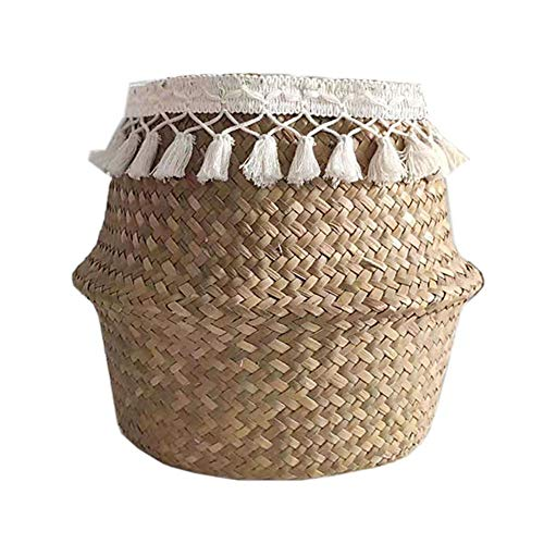 Natural Woven Seagrass Basket, Foldable Belly Basket Toys Storage, Woven Seagrass Tote Belly Basket for Storage, Laundry, Picnic, Plant Pot Cover