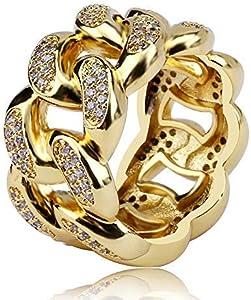 Anello a Catena Cubana di Moda con Gioielli Moca ghiacciati Anello in Oro 18 carati con Diamante simulato Bling CZ per Uomo Donna