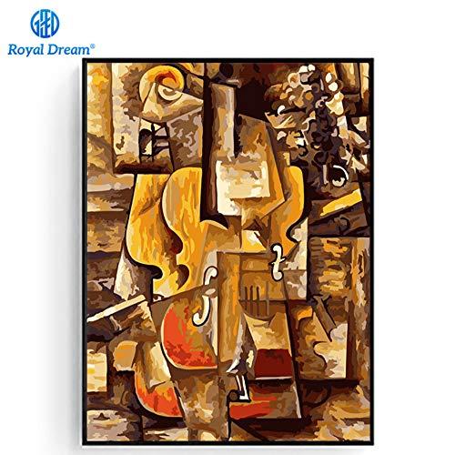 Flduod gedruckte Malerei Leinwand Weltberühmte Picasso Geige und Traube Bild auf Leinwand Bild Wandkunst Bild für Schlafzimmer-50x70cm/Rahmenlos