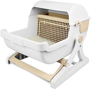UEETEK 猫トイレ本体 半自動 猫用トイレ ドーム ハーフカバータイプ 臭わない仕組み