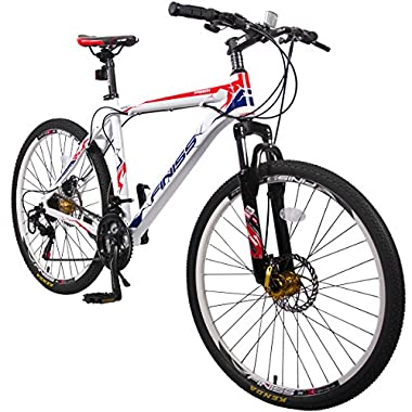 Merax Finiss 26  Aluminum 21 Speed Mountain Bike with Disc Brakes (Style White&Red)