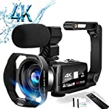 Video Camera Camcorder 4K Digital YouTube Vlogging Camera,48M 16X Digital Zoom Camcorder 3 in Touch Screen Camcorder with Microphone Handhold Stabilizer