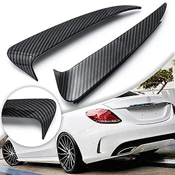Xotic Tech Carbon Fiber Style Rear Bumper Air Vent Spoiler Splitter Canard Insert Cover Trim Compatible with Mercedes Benz W205 C-Class 4 Door Sedan C43 C63 AMG C180 C200 C300 2015+