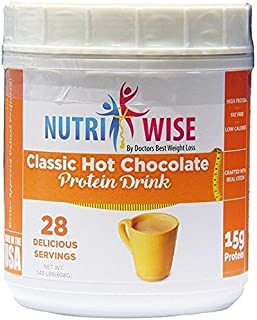 NutriWise - High Protein Diet Drink | Hot Chocolate Canister | Low Calorie, Low Fat, Low Sugar (28 Serv)