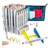 Arrtx OROS 36 Colores Tono Piel Rotuladores, Marcador pincel y cincel doble punta permanente art marker para manga, retrato, ilustración de bocetos, dibujo para colorear, con bolsa única